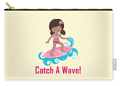 Surfer Art Catch A Wave Girl With Surfboard #21 Carry-all Pouch
