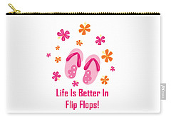 Surfer Art - Life Is Better In Flip Flops Carry-all Pouch