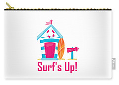 Surfer Art - Surf's Up Cabana House To The Beach Carry-all Pouch