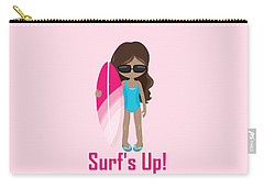 Surfer Art Surf's Up Girl With Surfboard #16 Carry-all Pouch