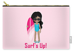 Surfer Art Surf's Up Girl With Surfboard #17 Carry-all Pouch