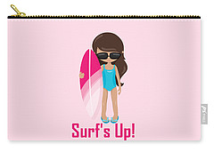Surfer Art Surf's Up Girl With Surfboard #18 Carry-all Pouch
