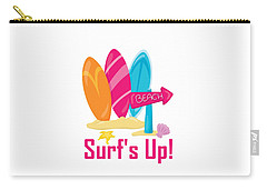 Surfer Art - Surf's Up To The Beach With Surfboards Carry-all Pouch