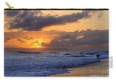 Surfer At Sunset On Kauai Beach With Niihau On Horizon Carry-all Pouch by Catherine Sherman