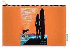 Surfer Girl With Dolphin Carry-all Pouch