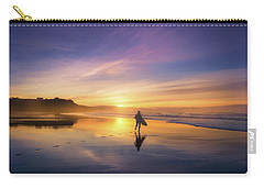 Surfer In Beach At Sunset Carry-all Pouch