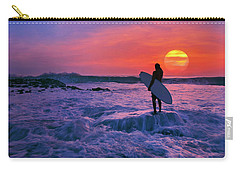 Surfer On Rock Looking Out From Blowing Rocks Preserve On Jupiter Island Carry-all Pouch by Justin Kelefas
