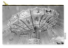 Carry-all Pouch featuring the photograph Surreal Carnival Rides - Carnival Rides Ferris Wheel Black And White Photography Prints Home Decor by Kathy Fornal