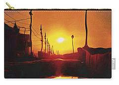 Surreal Cityscape Sunset Carry-all Pouch by Anton Kalinichev