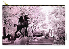 Surreal Infared Pink Black Sculpture Horse Pegasus Winged Horse Architectural Garden Carry-all Pouch by Kathy Fornal