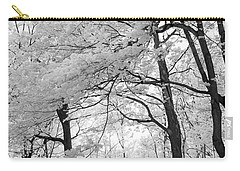 Carry-all Pouch featuring the photograph Surreal Infrared Black White Nature Trees - Haunting Black White Trees Nature Infrared by Kathy Fornal
