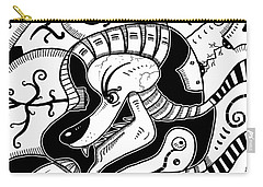 Surrealism Wolf Black And White Carry-all Pouch