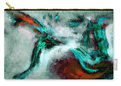 Carry-all Pouch featuring the painting Surrealist And Abstract Painting In Orange And Turquoise Color by Ayse Deniz