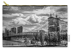 Suspension Bridge Black And White Carry-all Pouch