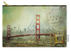 Carry-all Pouch featuring the photograph Suspension - Golden Gate Bridge San Francisco Photography Mixed Media Collage by Melanie Alexandra Price