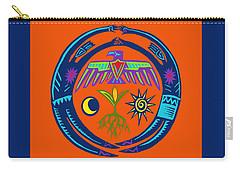 Carry-all Pouch featuring the digital art Sw Shaman Eagle Rain Dance by Vagabond Folk Art - Virginia Vivier