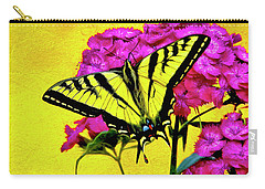 Carry-all Pouch featuring the digital art Swallow Tail Feeding by James Steele