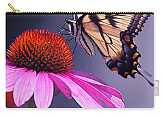 Carry-all Pouch featuring the photograph Swallowtail And Coneflower by Byron Varvarigos