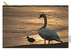 Carry-all Pouch featuring the photograph Swan And Baby At Sunset by Richard Bryce and Family