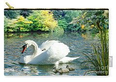 Carry-all Pouch featuring the photograph Swan And Cygnets by Morag Bates