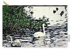 Carry-all Pouch featuring the photograph Swan Family On The Rhine 2 by Sarah Loft