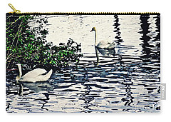 Carry-all Pouch featuring the photograph Swan Family On The Rhine 3 by Sarah Loft