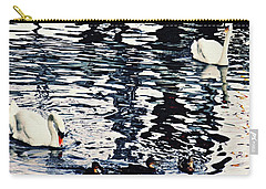 Carry-all Pouch featuring the photograph Swan Family On The Rhine by Sarah Loft