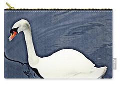 Carry-all Pouch featuring the photograph Swan On The Rhine by Sarah Loft