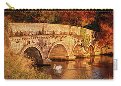 Carry-all Pouch featuring the photograph Swan On The Rye Water - Kildare, Ireland by Barry O Carroll