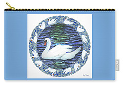 Carry-all Pouch featuring the painting Swan With Knotted Border by Lise Winne