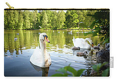 Swans With Chicks Carry-all Pouch