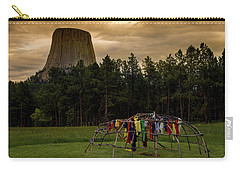 Carry-all Pouch featuring the photograph Sweat Lodge At Devil's Tower by Gary Lengyel