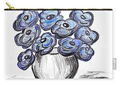 Carry-all Pouch featuring the painting Sweet Blue Poppies by Ramona Matei