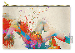 Carry-all Pouch featuring the digital art Sweet Jenny Bursting With Music Cropped by Nikki Marie Smith