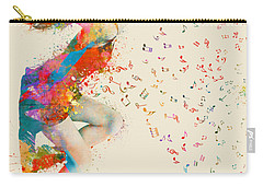 Carry-all Pouch featuring the digital art Sweet Jenny Bursting With Music by Nikki Smith