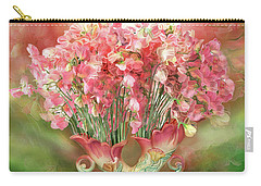Sweet Peas In Sweet Pea Vase 2 Carry-all Pouch by Carol Cavalaris