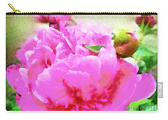 Sweet  Pink Peony Carry-all Pouch by Janine Riley