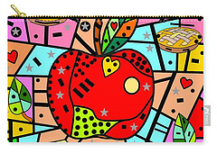 Carry-all Pouch featuring the digital art Sweet Popart Apple By Nico Bielow by Nico Bielow