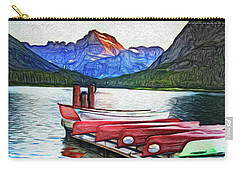 Swiftcurrent Lake And Canoes_pastel Version Carry-all Pouch