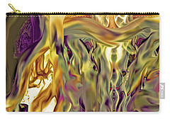Carry-all Pouch featuring the digital art Swimming Horses by Linda Sannuti