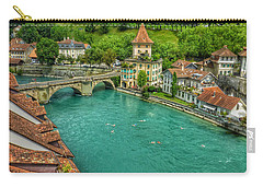 Carry-all Pouch featuring the photograph Swimming The River Aare , Bern  by Connie Handscomb