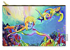 Carry-all Pouch featuring the painting Swimming With Turtles by Jann Paxton