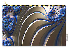 Carry-all Pouch featuring the digital art Swirly Blue Fractal Art by Bonnie Bruno