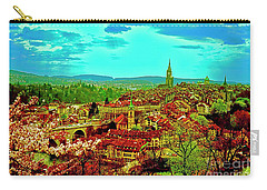 Carry-all Pouch featuring the photograph Switzerland Bern City View Matte Aare River    by Tom Jelen
