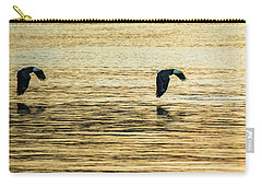 Carry-all Pouch featuring the photograph Synchronized Bald Eagles At Dawn 1 Of 2 by Jeff at JSJ Photography
