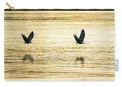 Carry-all Pouch featuring the photograph Synchronized Bald Eagles At Dawn 2 Of 2 by Jeff at JSJ Photography