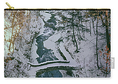 Carry-all Pouch featuring the photograph T-31501 Gorge Snow Cornell U Campus by Ed Cooper Photography
