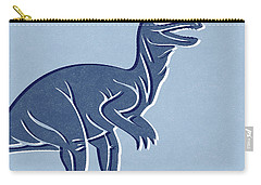 T-rex In Blue Carry-all Pouch by Linda Woods