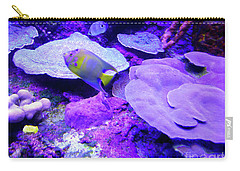 Carry-all Pouch featuring the photograph Ta Purple Coral And Fish by Francesca Mackenney