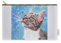 Tabby Cat In The Winter Carry-all Pouch by Lee Ann Shepard